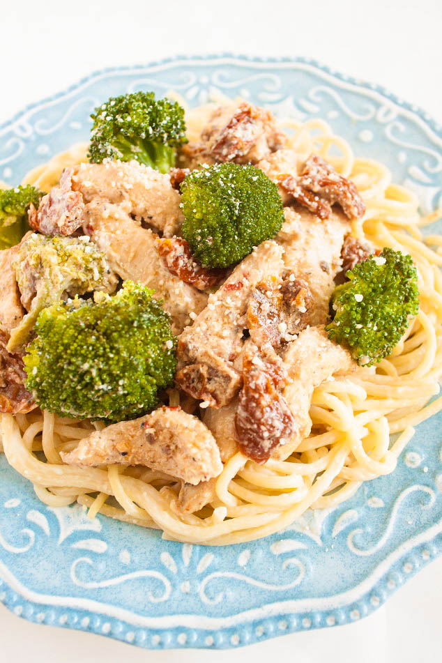 Chicken in a Creamy Sauce with Sun-dried Tomatoes and Brocolli