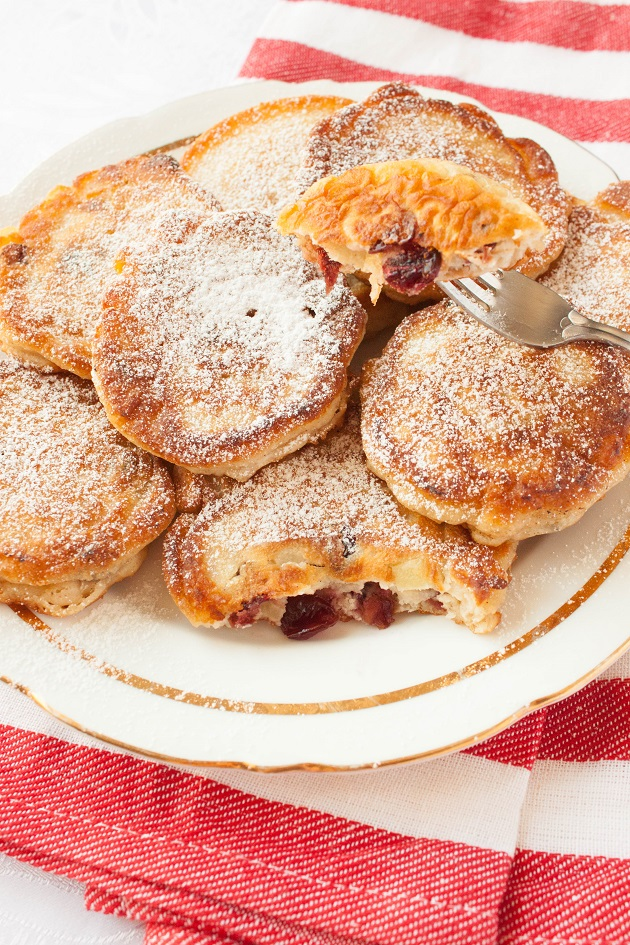 Homemade Pancakes with apples and dried fruits