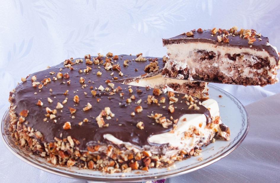 Chocolate Cake with Condensed milk Cream and Pecans