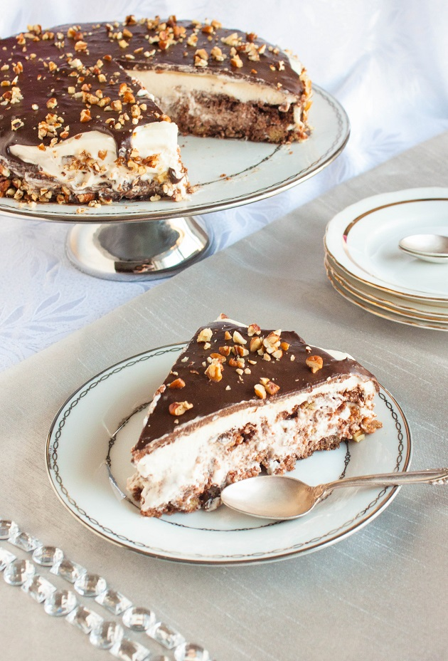Chocolate Layer Cake with Condensed milk Cream and Pecans
