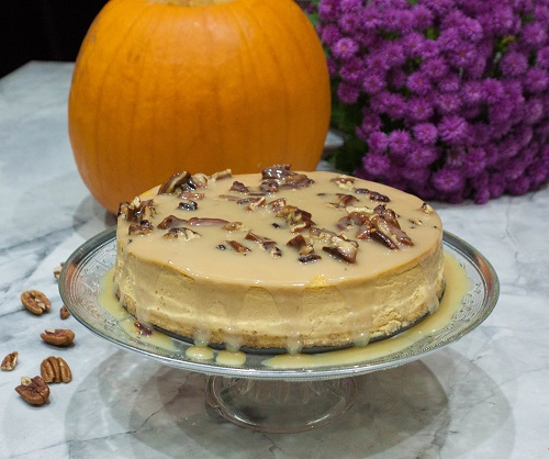 Delicious Pumpkin Cheesecake with Maple syrup and Pecans