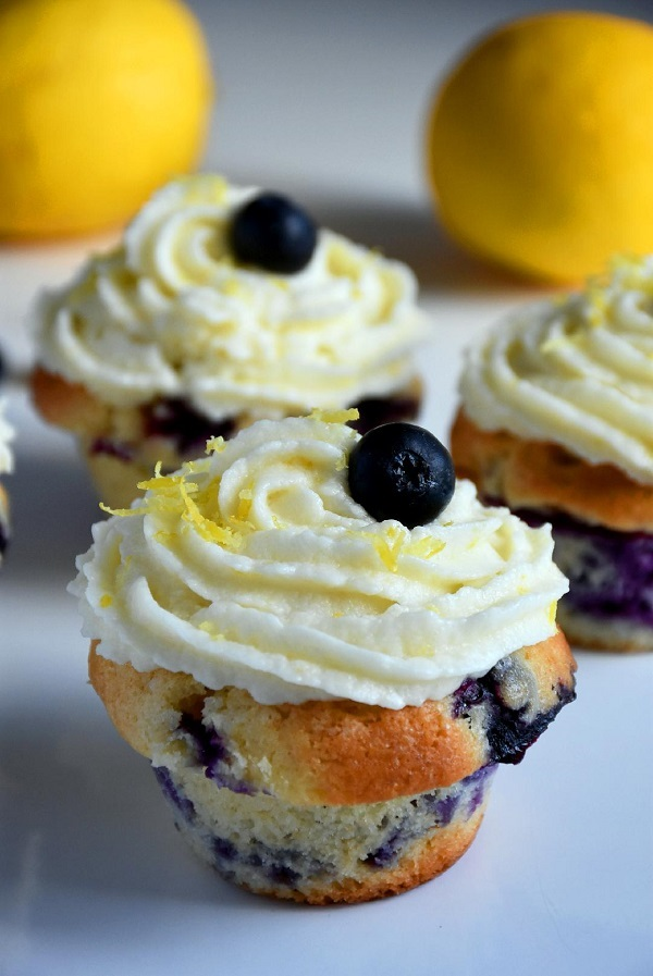 Blueberry Cupcakes with Lemon Buttercream Frosting