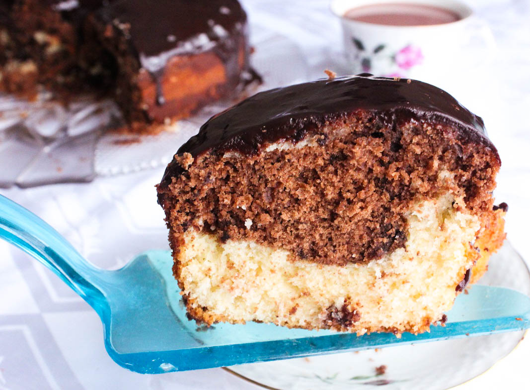 Moist and Delicious Marble Cake with Chocolate Ganache