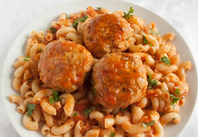 Chicken Meatballs with rice and parsley