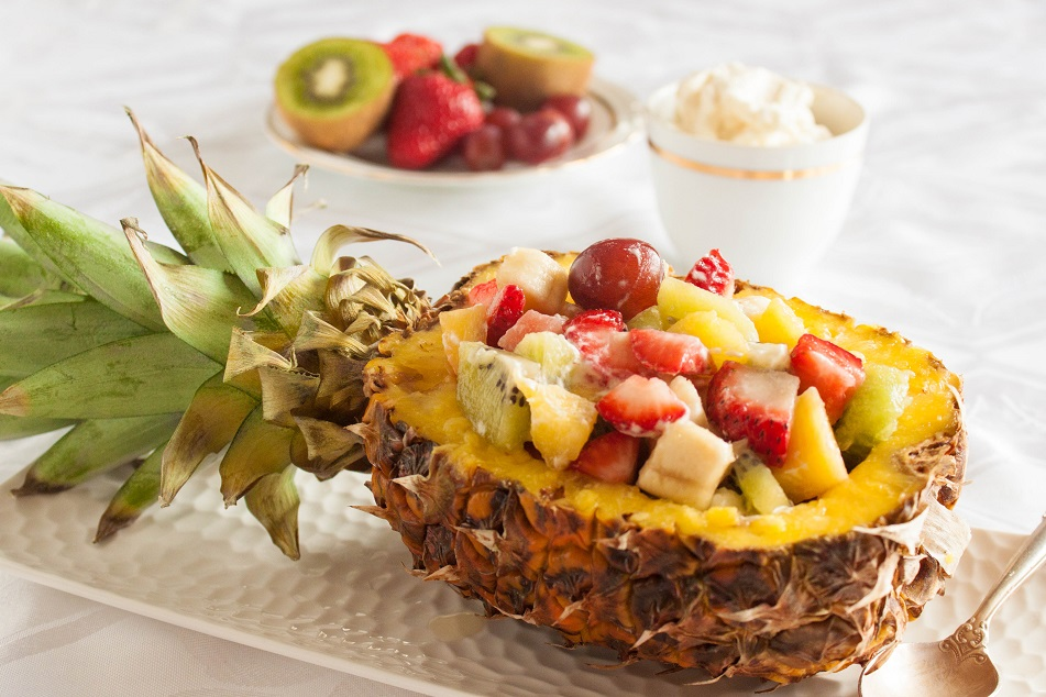 Fruit Salad in a Pineapple Shell