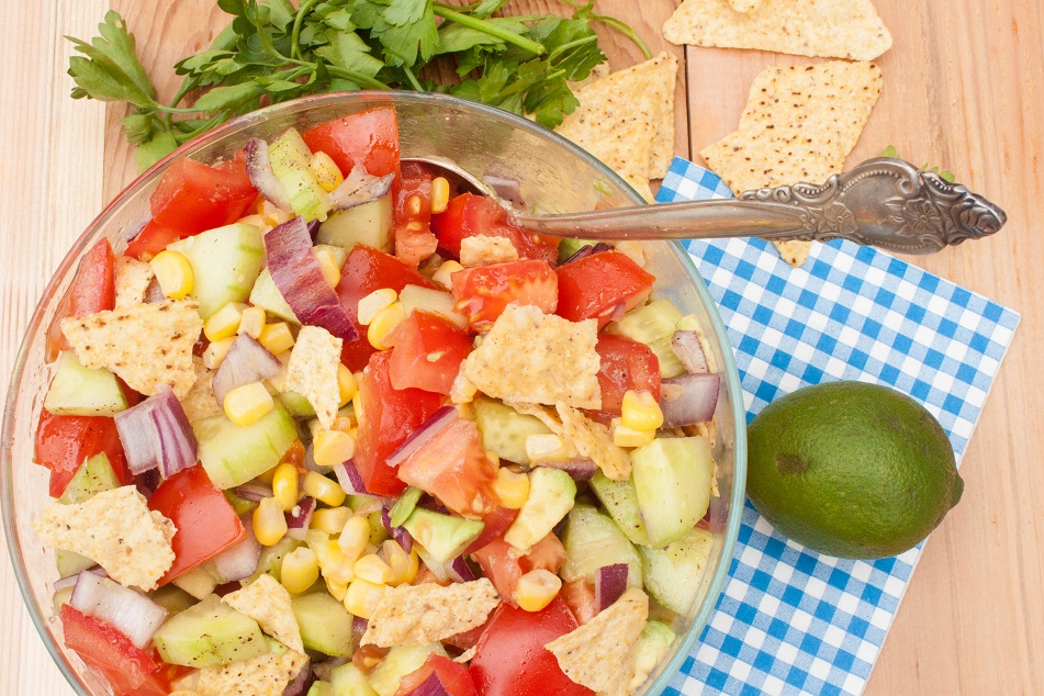 Mexican Salad with Tomatoes, Avocados, and Tortilla Chips