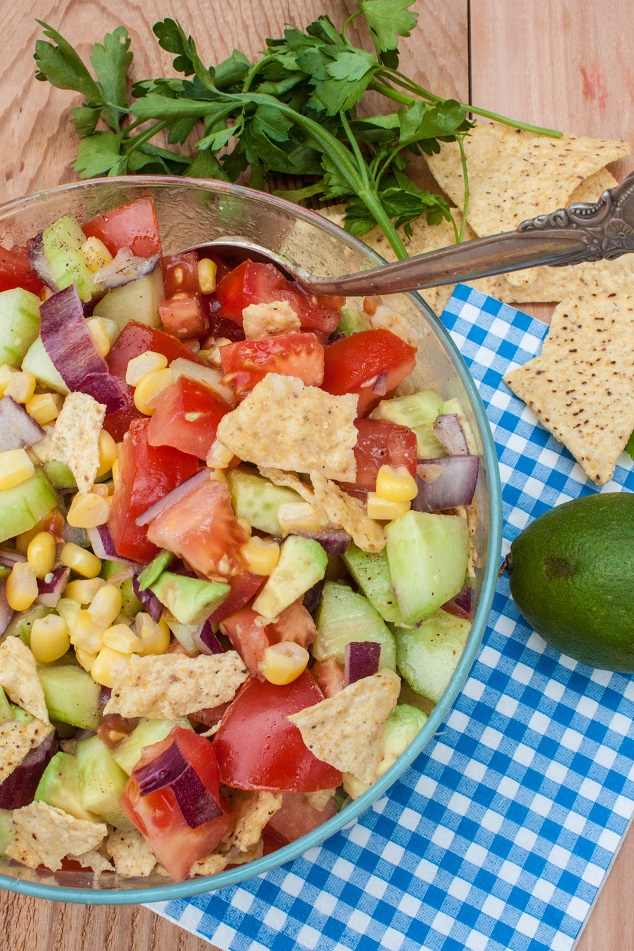 Tomato, Corn, and Avocado Salad with Tortilla Chips