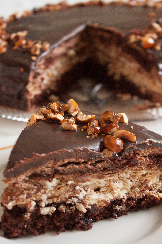 Chocolate Mousse Cake with Hazelnut Meringue