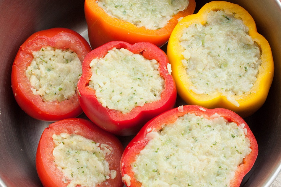Chicken and Rice Stuffed Peppers and Tomatoes