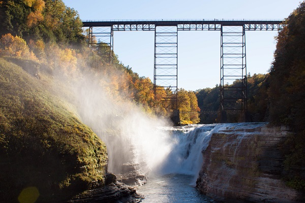 Upper Falls at Letchworth State Park in Fall